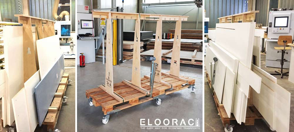 Illustration of an Eloorac transport rack for use in a joinery. The chipboard and board materials to be processed can be moved directly to the CNC milling machine for processing.