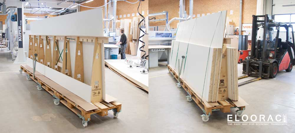 Eloorac A-frames loaded with long products in use in a joinery.