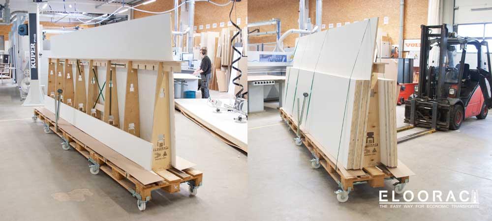 Eloorac A-Gestelle beladen mit langen Produkten im Einsatz in einer Schreinerei.