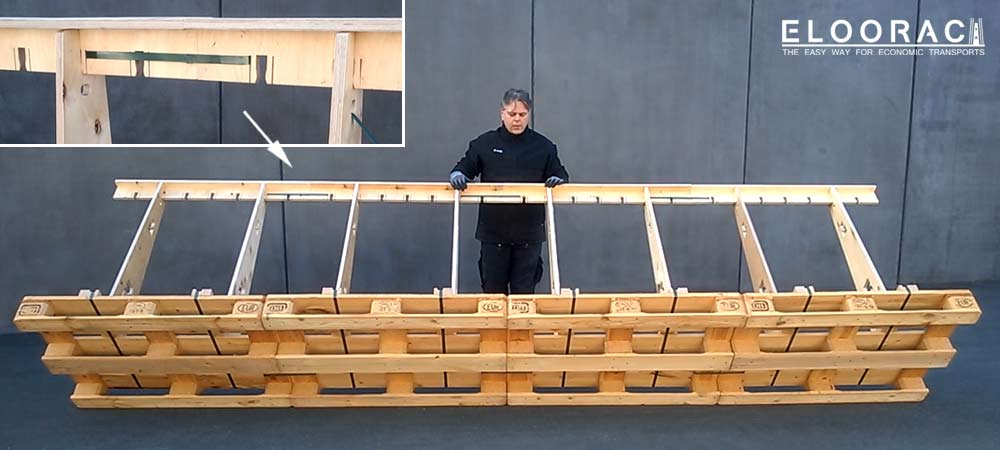 Darstellung der Befestigungsmöglichkeiten vom Eloorac Transportgestell an einer Europalette. Geprüft ist die Befestigung mit PET Bändern. Schraubverbindungen sind möglich aber nicht geprüft !