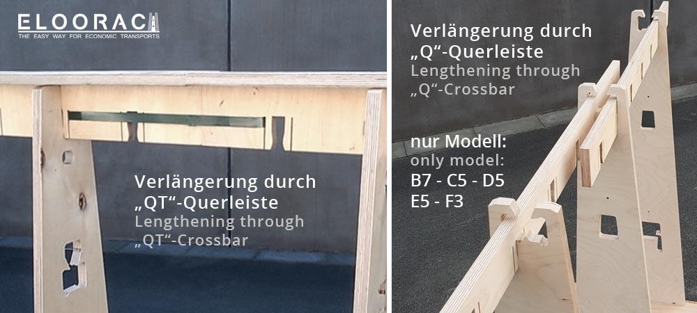"""Abbildung zweier Eloorac Transport Gestelle. Zwei unterschiedliche Querleisten sind zu sehen. Links die stabilere QT-Leiste, rechts die Standard Querleiste """"Q"""". Gut zu erkennen ist die Art und Weise wie die einzelnen Standard Gestelle wie z.B. Glastransportgestelle, durch die Querleisten miteinander verbunden werden. Die Standard Q-Leiste kann einfach in die dafür vorgesehenden Ausfräsungen gesteckt werden. Die QT-Leisten werden stumpf voreinander gesetzt und z.B. mit einem PET Zurrband, fest miteinander verbunden."""