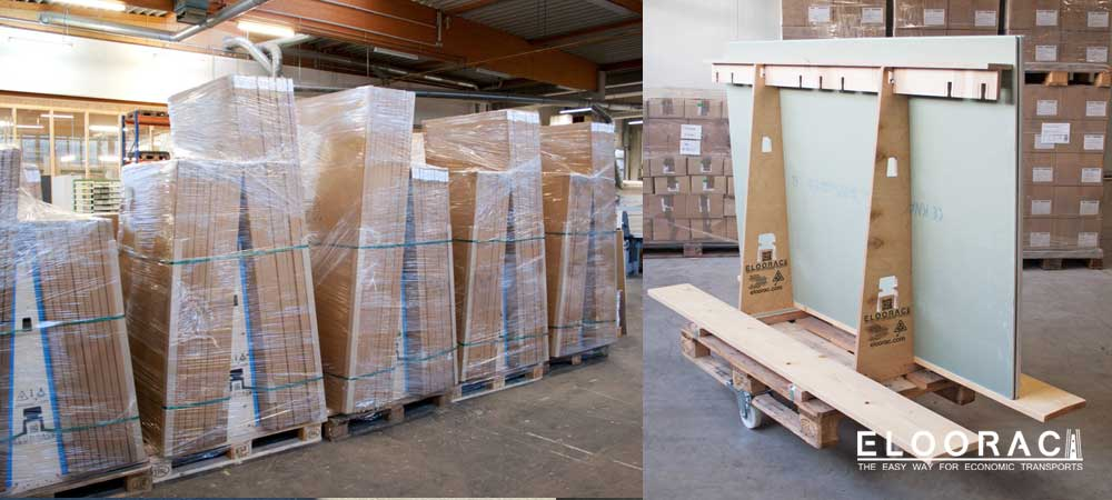 Ready packed and shrink-wrapped A-frames prepared for dispatch.