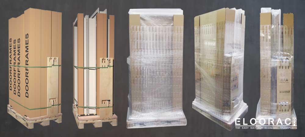 Zusammengebaute Türzargen stehen aufrecht auf einem Eloorac Trnasportgestell.