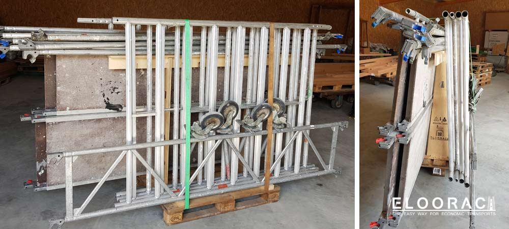 Eloorac transport rack loaded with a disassembled scaffolding including all accessories. The scaffold tower is in assembled condition and has a height of approx. 6 meters.