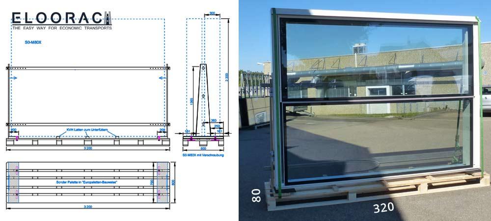 Diese Abbildung zeigt ein 3,2 Meter langes Fenstertransportgestell. Darauf stehen sehr große, 30 cm dicke Fenster die auf Kreuzfahrtschiffen montiert.