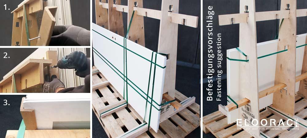 Abbildung einiger Details und Vorschläge wie Ware an Eloorac Transportgestellen befestigt werden kann.
