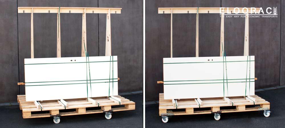 Abbildung wie Eloorac Transportgestelle durch Eloowheel Transportrollen, die man einfach nur an die Palette steckt, fahrbar gemacht werden können. Mit den Eloowheel Rollen können unendlich lange Paletten bewegt werden.