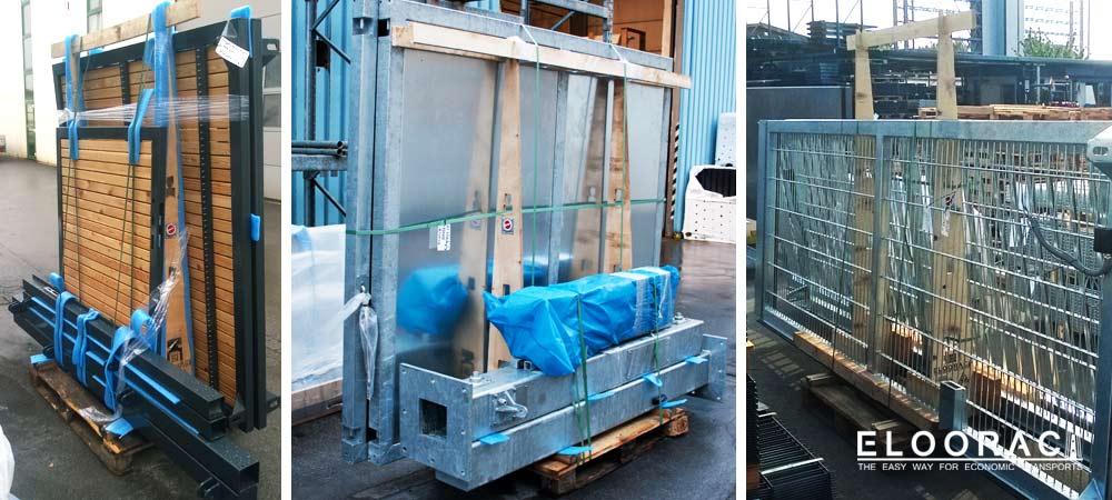 Abbildung vom Eloorac Transportgestell im Einsatz für den Transport von Zaunanlagen, Toranlagen und anderen Metallprodukten. Alle Transportgestelle sind wieder auf Europaletten befestigt.