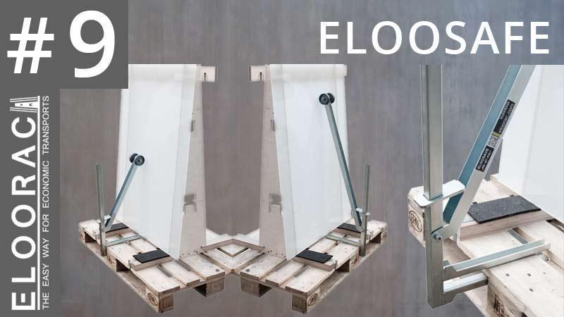 Zu sehen ist der Scheibenhalter Eloosave montiert an 3 Paletten. Die Sicherungsklemme die auch für Europaletten gedacht ist, klemmt und sichert Glas, Holzplatten oder Bleche auf dem Transportgestell Eloorac.
