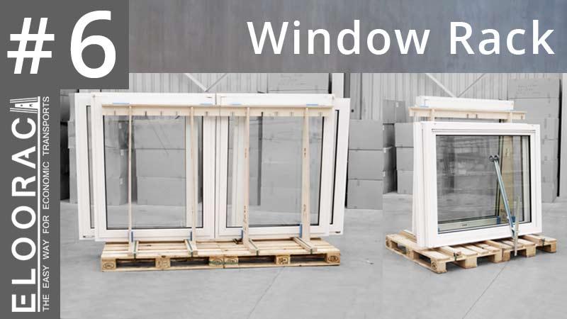 Titelbild eines Eloorac Videos in dem es um Fenster Transport Gestelle geht. Auf dem Titelbild sind 2 verschiedene Varianten von Fenstertransportgestellen zu sehen. Im Video wird gezeigt wie ein Transportgestell für Fenster montiert und wie Fenster an dem Rack befestigt werden.
