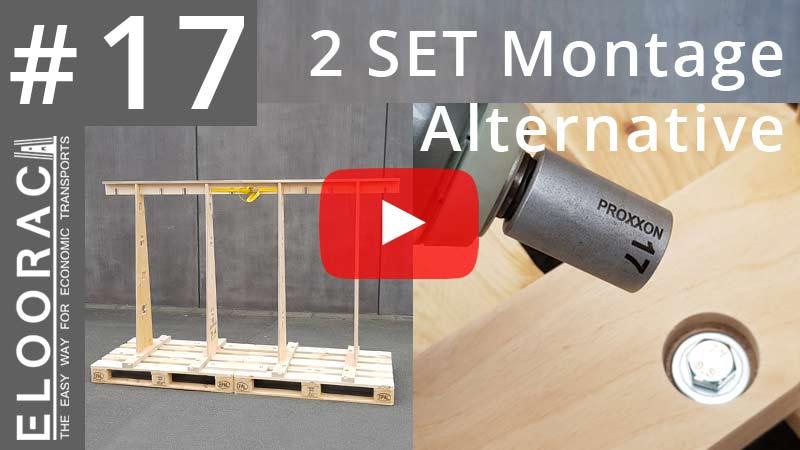 Titelbild eines Eloorac Videos in dem es um die Montage eines doppelten Eloorac Transportgestelles bzw. Glass Racks geht. Das Gestell wird mit metrischen Schrauben auf einfach Weise sehr stabil auf zwei Europalette befestigt.