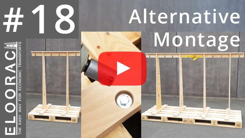 Titelbild eines Eloorac Videos in dem es um die Montage verschiedener Eloorac Transportgestelles bzw. Glass Racks geht. Die Gestelle werden mit metrischen Schrauben auf einfach Weise sehr stabil auf Europaletten befestigt.