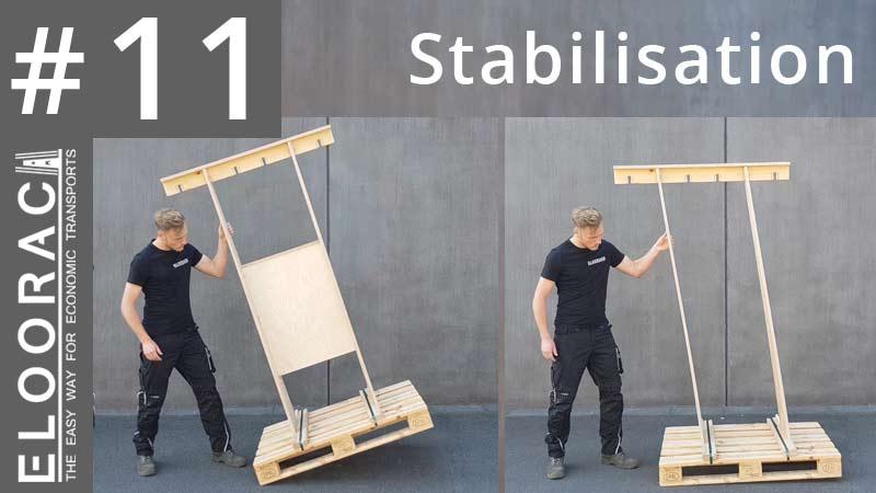 Auf dem Titelbild des Stabilisierungs Videos von Eloorac sieht man 2 Varinanten des T4H Transport Gestells welches oft im Fensterbau oder im Glas Bereich eingesetzt wird. Generell werden Eloorac Transportgestelle erst durch die Befestigung der zu transportierenden Ware am Rack, stabilisiert. Die linke Hälfte der Abbildung zeigt ein Holz Transportgestell von Eloorac mit einer Stabilisierungsplatte. Die rechte Seite zeigt ein Holz Gestell ohne Stabiplatte. Man sieht das ein Eloorac Gestell mit Stabilisierungsplatte im leeren Zustand stabiler ist.