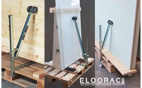 Die Eloosave Sicherungsklemme von Eloorac kann individuell an die verschiedensten Positionen einer Euro Palette, EPAL Palette oder Einwegpalette gesteckt werden. Ein Umfallen der aufrecht stehenden Produkte wird mit der Scheibenklemme Eloosave, verhindert.
