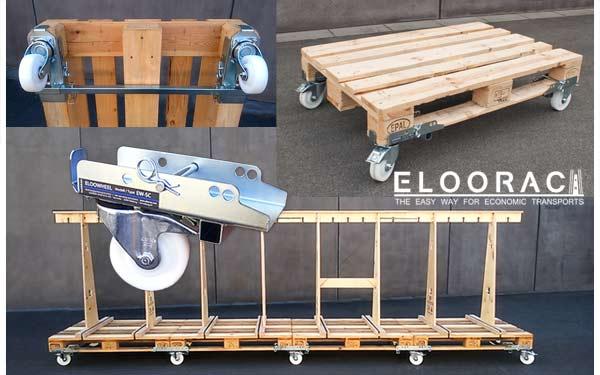 Eloowheel Transportrollen werden einfach unter Paletten montiert. Es wird kein Werkzeug benötigt. Eloowheel Rollen sind als Lenkrollen und als Bockrolle erhältlich und werden als flexibler Ersatz für Rollwagen, Rolltische, rollbare Montagetische, Routenzüge und Hubwagen eingesetzt.