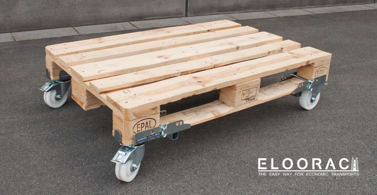 Braked, steerable Eloowheel transport casters from Eloorac on an EPAL pallet or Euro pallet.