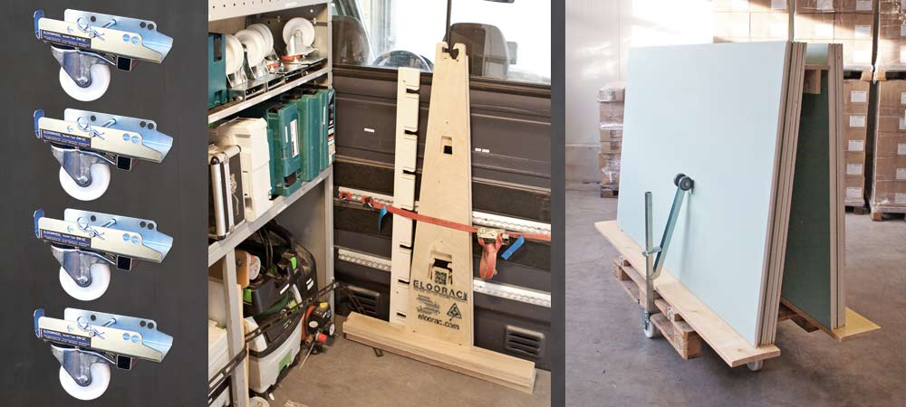 Individual Eloowheel transport rolls and a disassembled Eloorac transport rack are located on the shelf of an assembly vehicle. A Euro pallet with Eloowheel transport rolls and the Eloorac A-frame is packed with Knauf plasterboards.