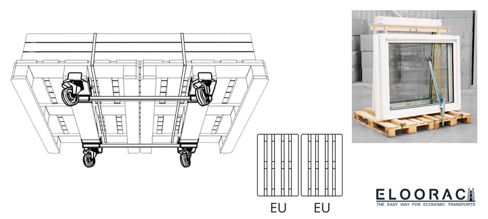 2 crosswise connected Euro pallets or EPAL pallets are equipped with Eloowheel transport rolls and the A-frame from Eloorac for the transport of windows.