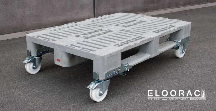 Gebremste, lenkbare Eloowheel Transportrollen von Eloorac an einer H1 Kunststoffpalette.