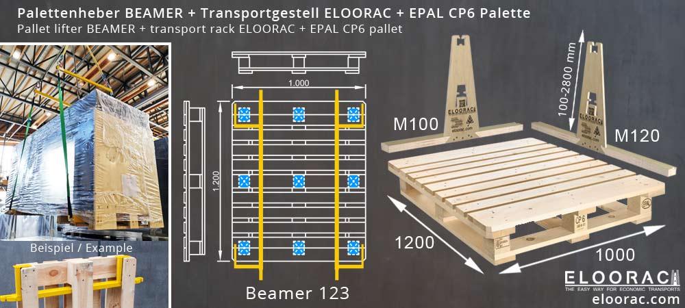 Abbildung einer EPAL CP6 Palette Chemiepalette, dem Palettenheber Beamer und dem Glass Transportgestell Eloorac welches durch verschieden lange Bodenkufen auf der EPAL CP6 Palette zum Einsatz kommen kann.