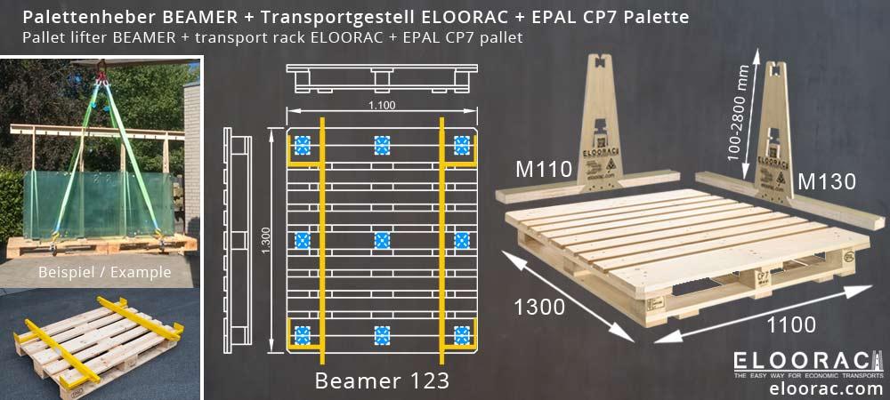 Abbildung einer EPAL CP7 Palette Chemiepalette, dem Palettenheber Beamer und dem Glass Transportgestell Eloorac welches durch verschieden lange Bodenkufen auf der EPAL CP7 Palette zum Einsatz kommen kann.
