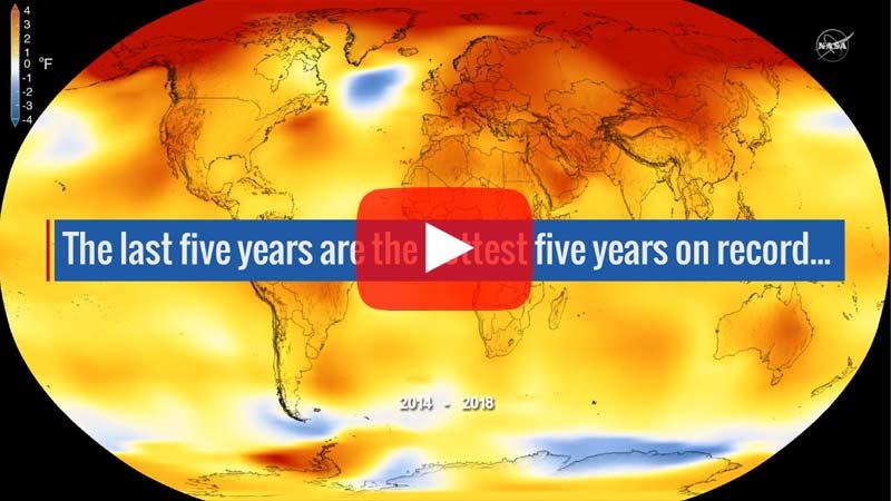 Die globale Oberflächentemperatur der Erde im Jahr 2018 war nach unabhängigen Analysen der NASA und der National Oceanic and Atmospheric Administration (NOAA) die viert wärmste seit 1880.