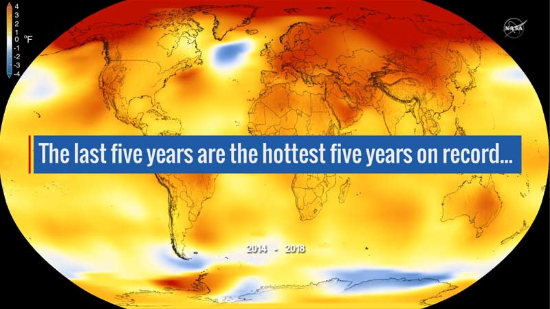 Die globale Oberflächentemperatur der Erde im Jahr 2018 war nach unabhängigen Analysen der NASA und der National Oceanic and Atmospheric Administration (NOAA) die viert wärmste seit 1880.