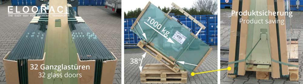 Die Abbildung zeigt den Test den Eloorac mit seinem Transportgestell bestehen mußte. Auf dem Holzgestell wurden 32 Ganzglastüren platziert und fachgerecht befestigt.