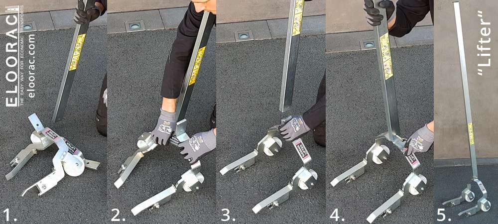 Abbildungsabfolge des Zusammenbaus eines Lifter Palettenhebers von Eloorac für die Montage von Eloowheel Transport Rollen. Der Lifter besteht aus 3 Einzelteilen. Die beiden Hebeteile und eine Hebelstange. Man sieht hier, dass die Montage nur wenige Handgriffe benötigt.