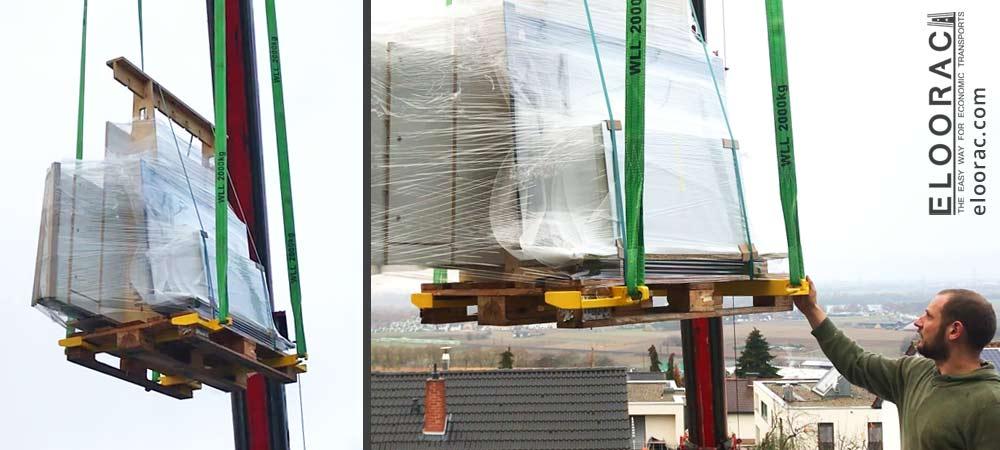 Abbildung von schwebenden Transportgestellen von Eloorac auf Europlatte. Die verwendeten A-Böcke die sonst als Glastransport Gestell genutzt werden, wurden hier mit Möbelteilen beladen. Das verheben der Gestelle auf EPAL Paletten wird mit dem Beamer Palettenheber und der Spreiztraverse Spreader von Eloorac durchgeführt.