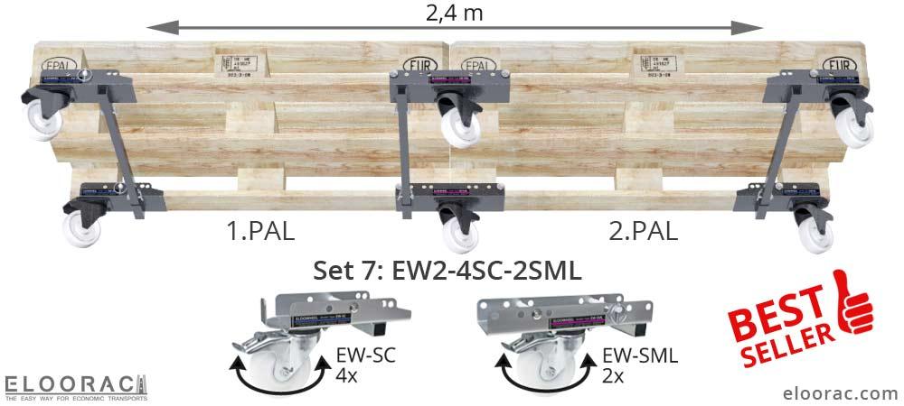 Darstellung der Positionierung von 6 lenkbaren Eloowheel Transportrollen an 2 miteinander verbundenen Euro Palette oder EPAL Paletten. Diese Variante ist sehr wendig und gehört zu den Bestseller.