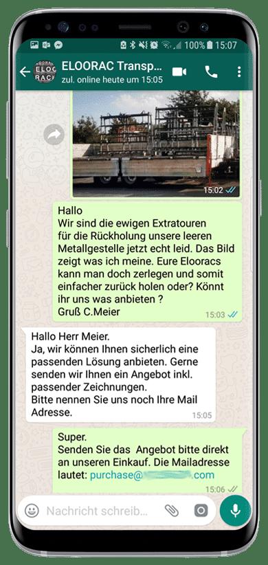 Beispiel einer Eloorac Transportgestell Angebotsanfrage per WhatsApp oder Viber