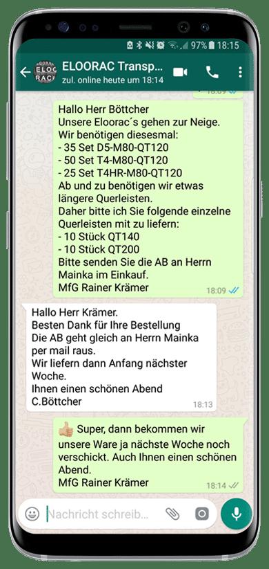 Beispiel einer Eloorac Transportgestell Bestellung per WhatsApp oder Viber