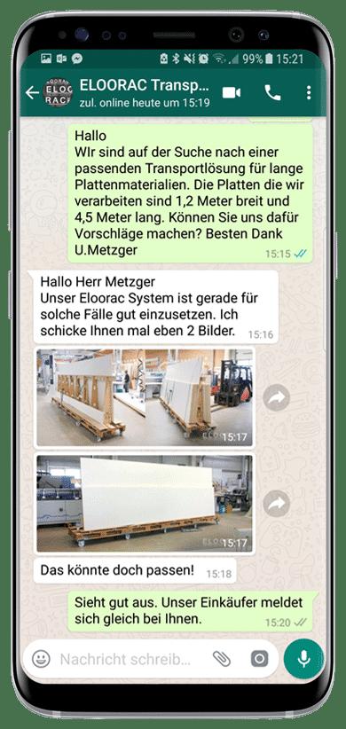 Beispiel einer Eloorac Transportgestell Hilfsanfrage per WhatsApp oder Viber