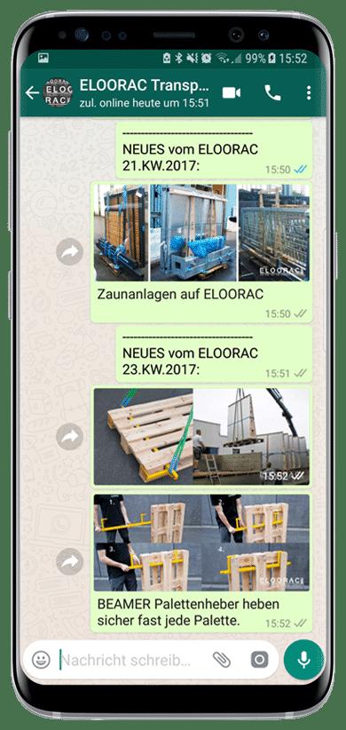 Beispiel des Eloorac Transportgestell Newsletter per WhatsApp oder Viber