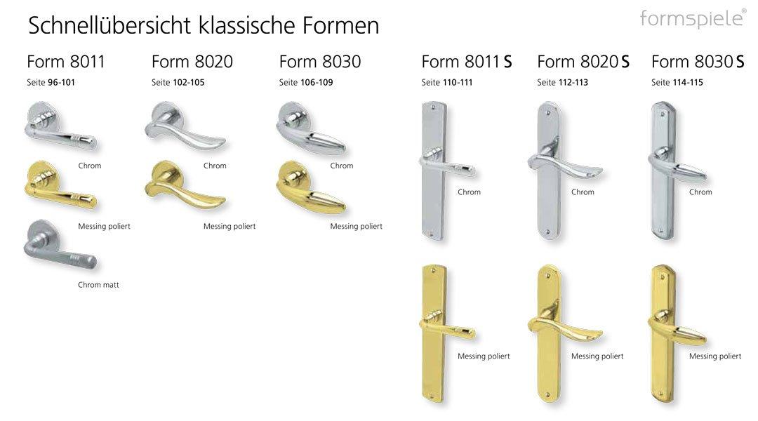 Schnellübersicht der scoop formspiele Drücker Garnituren in klassischer Form und in verschiedenen Oberflächen