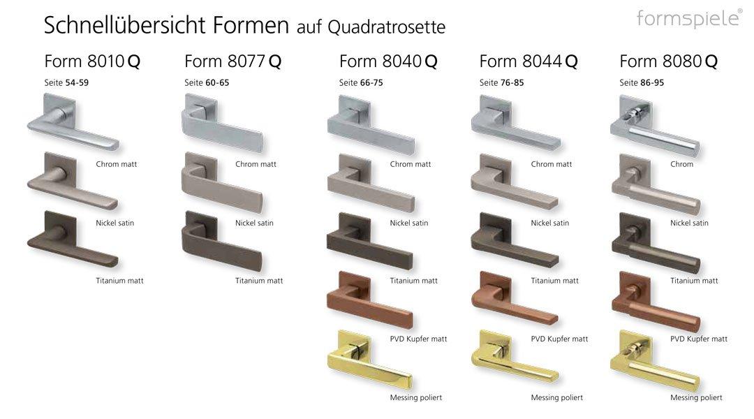 Schnellübersicht der scoop formspiele Drückergarnituren mit quadratischer Rosette bzw. Quadratrosette in verschiedenen Oberflächen