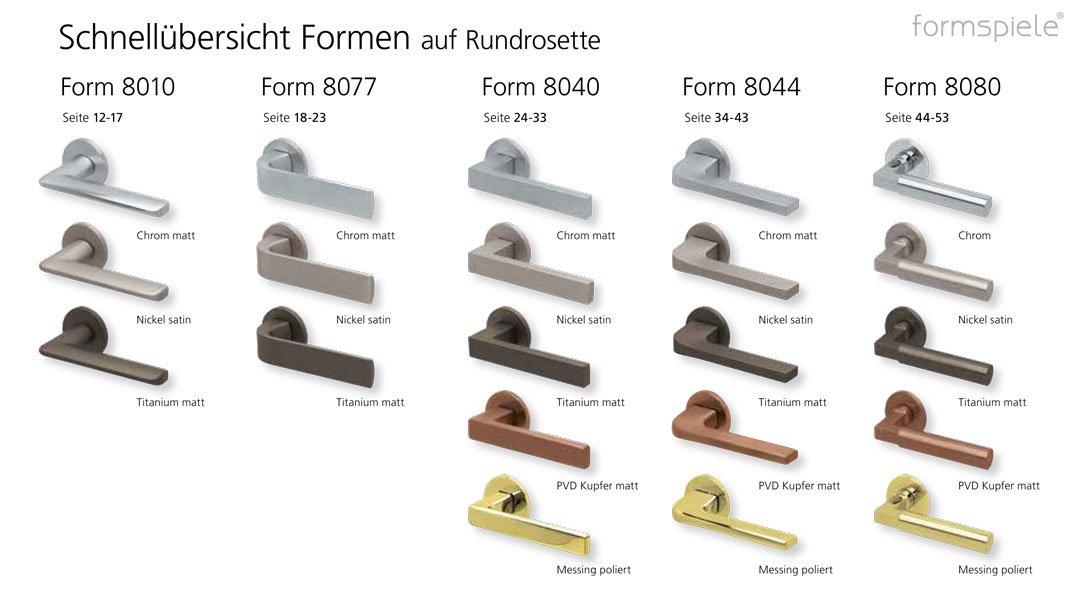 Schnellübersicht der scoop formspiele Drückergarnituren mit runder Rosette bzw. Rundrosette in verschiedenen Oberflächen