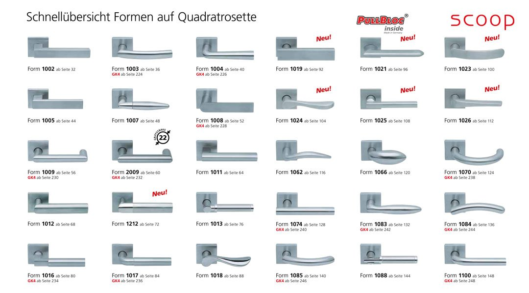 Schnellübersicht der scoop Pullbloc Türgriffe bzw. Drücker Garnituren mit Quadratrosette in Edelstahl matt. Diese Türgriffgarnituren mit quadratischer Rosette sind auch in Edelstahl poliert erhältlich.