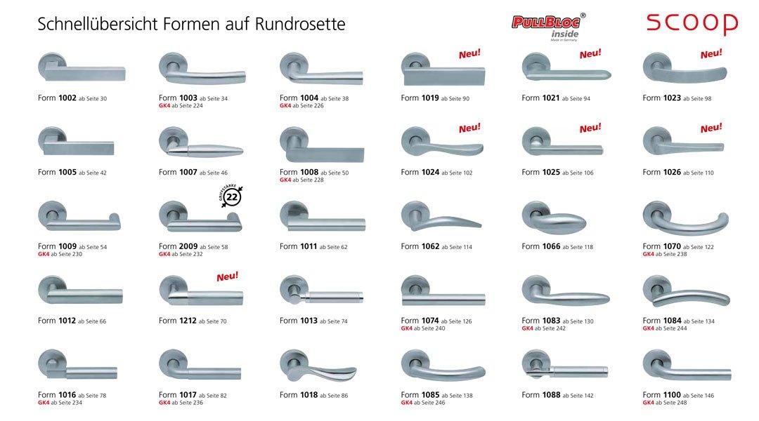 Schnellübersicht der scoop Pullbloc Türgriff bzw. Drücker Garnituren mit Rundrosetten in Edelstahl matt. Diese Türgriffgarnituren mit runden Rosetten sind auch in Edelstahl poliert erhältlich.