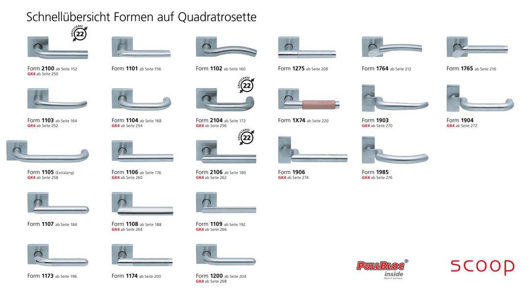 Schnellübersicht der scoop Pullbloc Türgriff bzw. Drücker Garnituren mit Quadratrosetten in Edelstahl matt. Diese Türgriffgarnituren mit quadratischen Rosetten sind auch in Edelstahl poliert erhältlich.