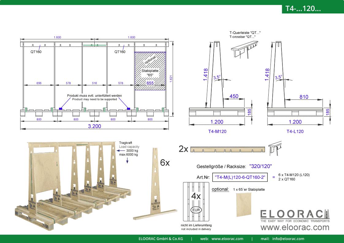 Abbildung des Eloorac Mehrweg Transportgestells T4-M120-6-QT160-2 mit der optional erhältlichen Stabilisierungsplatte, aufgebaut auf 4 miteinander verbundenen Euro bzw. EPAL Paletten. Dieses Transport Gestell welches für Fenster, Fassaden Elemente, Blech, Holzplatten und Naturstein und natürlich Glas genutzt wird, hat eine Größe von von 320 x 120 x 142 (162) cm (BxTxH).