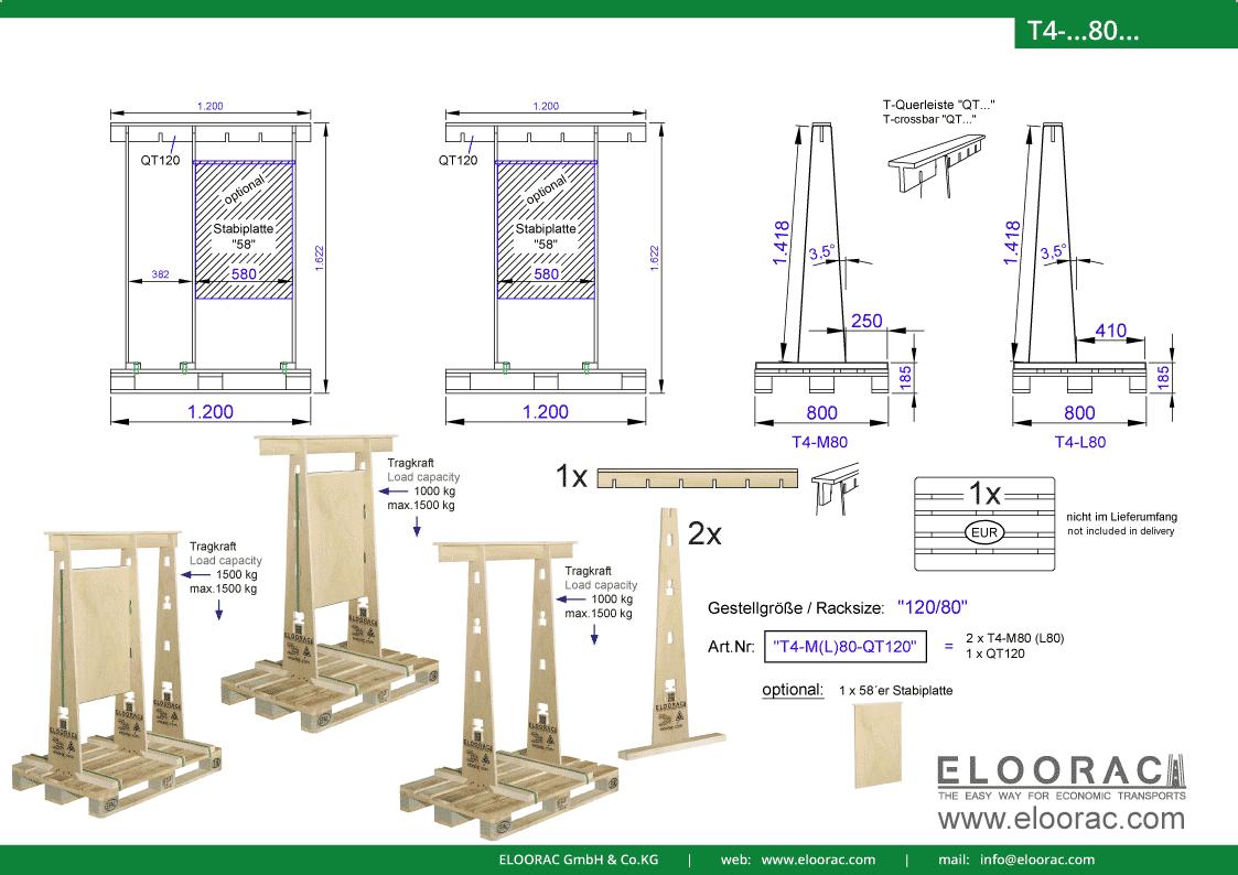 Abbildung des Eloorac Mehrweg Transportgestells T4-M80-QT120 mit der optional erhältlichen Stabilisierungsplatte. Das Fenster Transport Gestell hat eine Größe von 120 x 80 x 142 (162) cm (BxTxH) und wird auch als Lagergestell oder A-Bock Gestell für die Unterbringung von flachen Materialien genutzt.