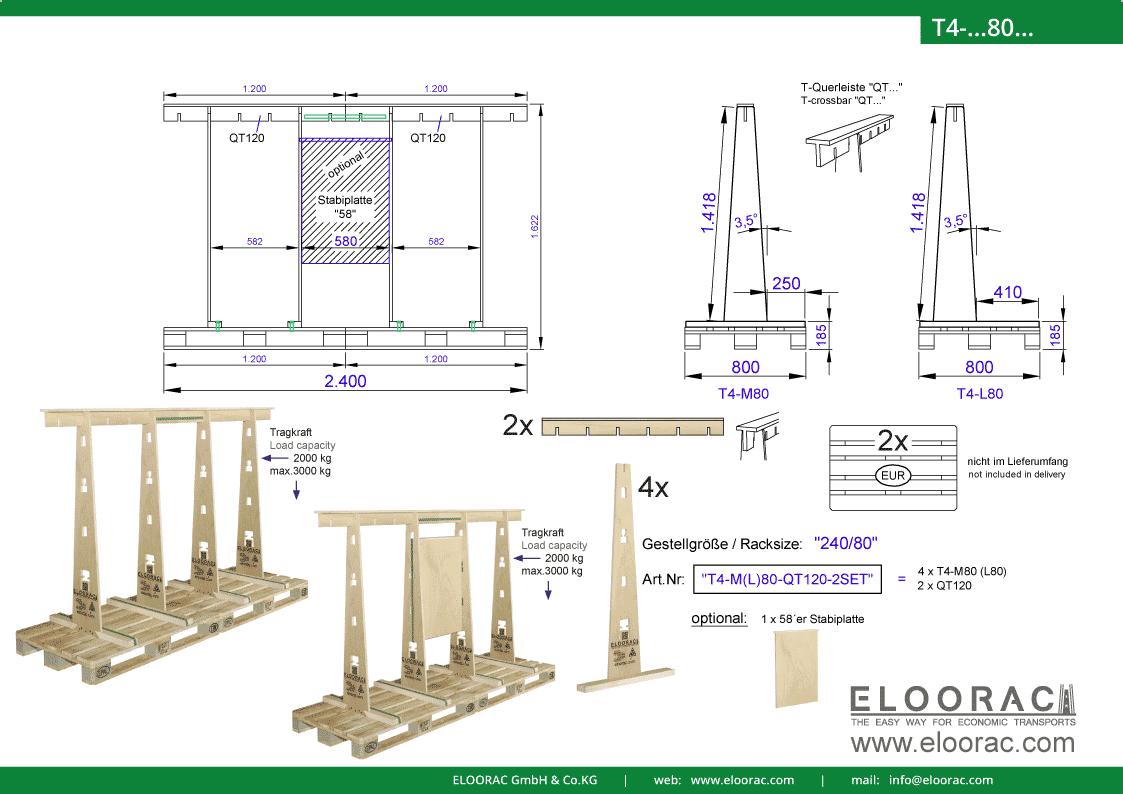 Abbildung des Eloorac Mehrweg Transportgestells T4-M80-QT120-2 mit der optional erhältlichen Stabilisierungsplatte, welches aus 2 Standard Sets zu einem langen Transportgestell zusammen gesetzt wurde. Dieses Transport Gestell welches für Fenster, Fassaden Elemente, Blech, Holzplatten, Glass und Naturstein genutzt wird, hat eine Größe von von 240 x 80 x 142 (162) cm (BxTxH).