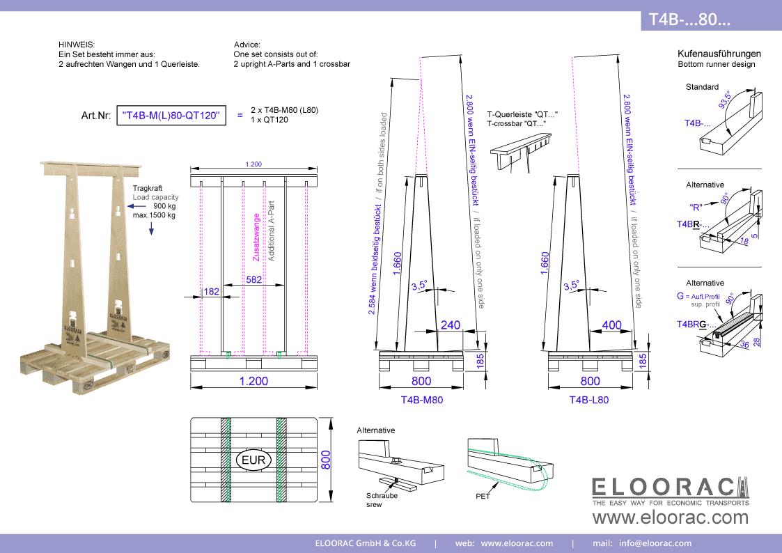 Grundsätzliche Details zum T4B-M80 Transport Gestell von Eloorac. Zu sehen sind grundlegende Maße und Eigenschaften des Transport Racks dessen Einsatzbereich im Transport von Haustüren, Fenster, Fassdaden-Elementen, Blech, Glas, Holzplatten und Naturstein liegt.