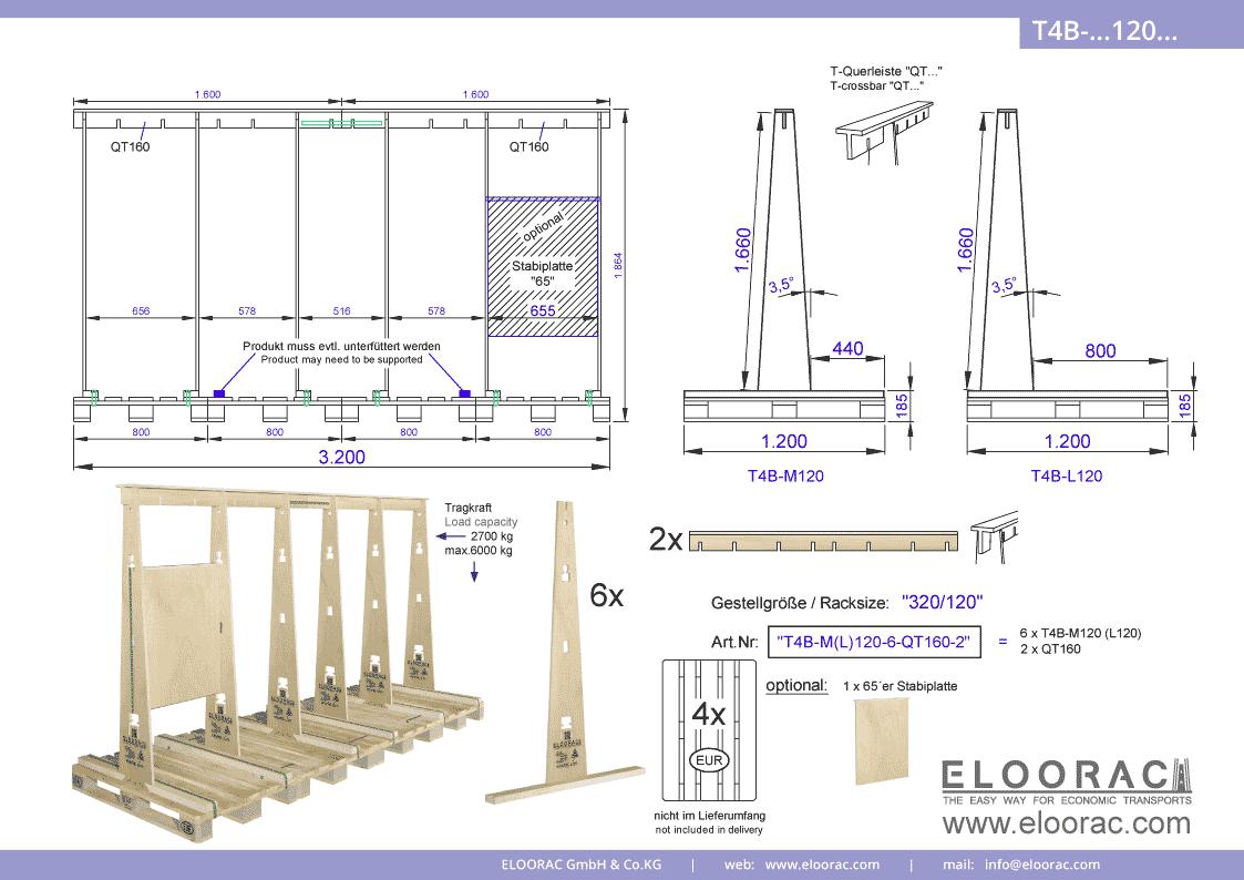 Abbildung des Eloorac Mehrweg Transportgestells T4B-M120-6-QT160-2 mit der optional erhältlichen Stabilisierungsplatte, aufgebaut auf 4 miteinander verbundenen Euro bzw. EPAL Paletten. Dieses Transport Gestell welches für Fenster, Fassaden Elemente, Blech, Holzplatten und Naturstein und natürlich Glas genutzt wird, hat eine Größe von von 320 x 120 x 166 (186) cm (BxTxH).