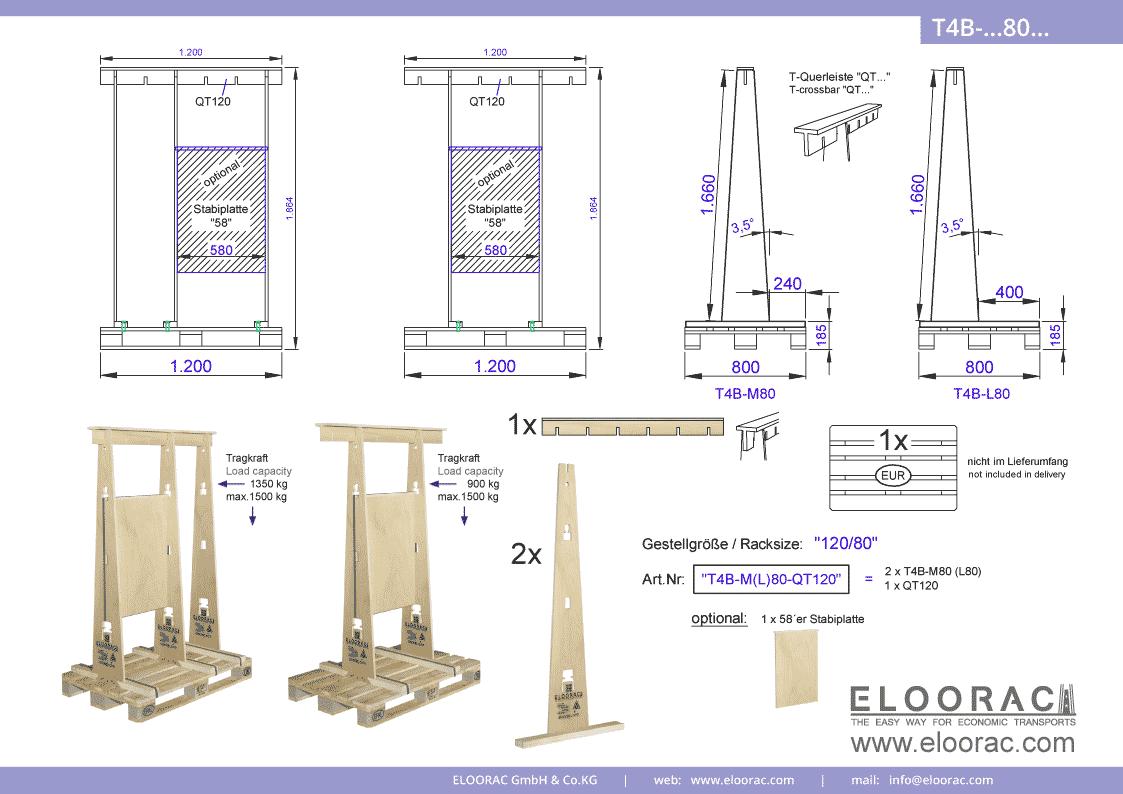 Abbildung des Eloorac Mehrweg Transportgestells T4B-M80-QT120 mit der optional erhältlichen Stabilisierungsplatte. Das Fenster Transport Gestell hat eine Größe von 120 x 80 x 166 (186) cm (BxTxH) und wird auch als Lagergestell oder A-Bock Gestell für die Unterbringung von flachen Materialien genutzt.