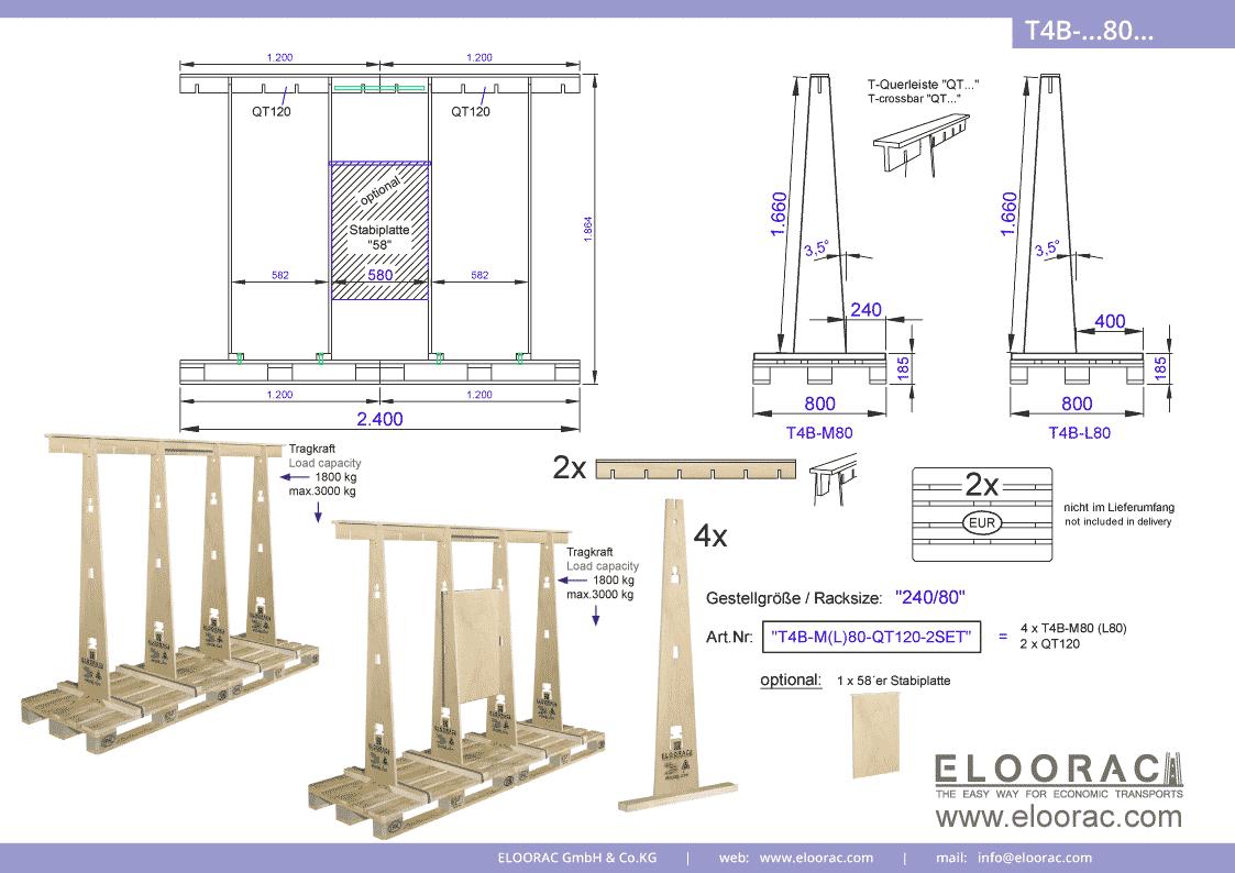 Abbildung des Eloorac Mehrweg Transportgestells T4B-M80-QT120-2 mit der optional erhältlichen Stabilisierungsplatte, welches aus 2 Standard Sets zu einem langen Transportgestell zusammen gesetzt wurde. Dieses Transport Gestell welches für Fenster, Fassaden Elemente, Blech, Holzplatten, Glass und Naturstein genutzt wird, hat eine Größe von von 240 x 80 x 166 (186) cm (BxTxH).