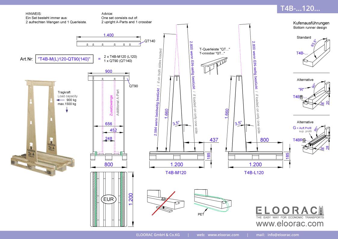 Grundsätzliche Details zum T4B-M120 Transport Gestell von Eloorac. Zu sehen sind grundlegende Maße und Eigenschaften des Transport Racks dessen Einsatzbereich im Transport von Haustüren, Fenster, Fassdaden-Elementen, Blech, Holzplatten, Glas und Naturstein liegt.