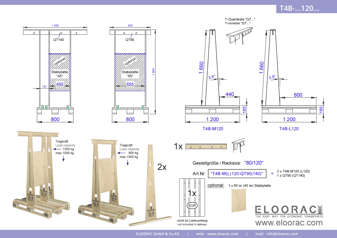 Abbildung des Eloorac Mehrweg Transportgestells T4B-M120-QT... mit der optional erhältlichen Stabilisierungsplatte. Das Fenster Transport Gestell hat eine Größe von von 80 x 120 x 166 (186) cm (BxTxH) und wird auch als Lagergestell oder A-Bock Gestell für die Unterbringung von flachen Materialien genutzt.